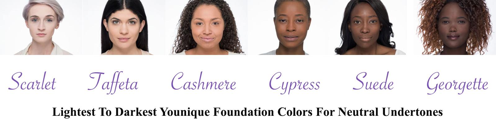 Younique Neutral Undertone Foundation Colors Younique