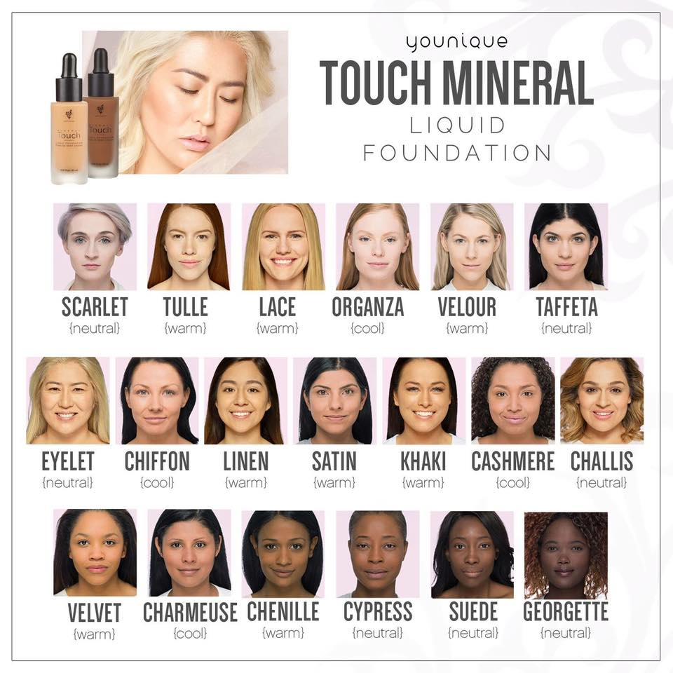 Younique Touch Liquid Foundation New Color Chart