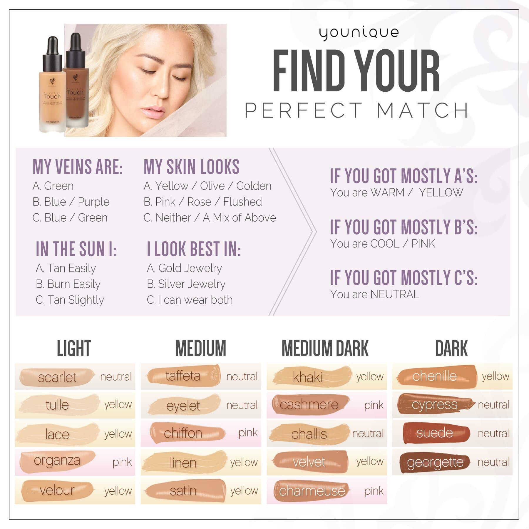 Colormatchquickreference Younique Makeup Skincare